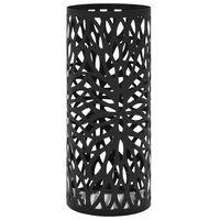 vidaXL Stojalo za dežnike z motivom listja iz jekla črne barve