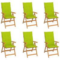 vidaXL Vrtni stoli 6 kosov s svetlo zelenimi blazinami trdna tikovina