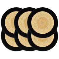vidaXL Pogrinjki 6 kosov naravne in črne barve 38 cm juta in bombaž