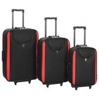 vidaXL Mehki potovalni kovčki 3 kosi črni oksford blago