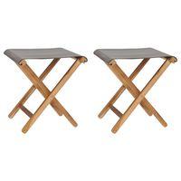 vidaXL Zložljivi stoli 2 kosa trdna tikovina in blago temno sivi