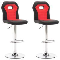 vidaXL Barski stolčki 2 kosa rdeče umetno usnje