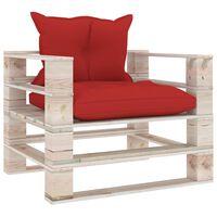 vidaXL Vrtni kavč iz palet z rdečimi blazinami borovina