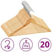 vidaXL Obešalniki 20 kosov nedrseči iz trdega lesa
