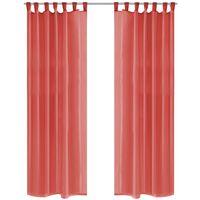 vidaXL Prosojne zavese 2 kosa 140x245 cm rdeče barve