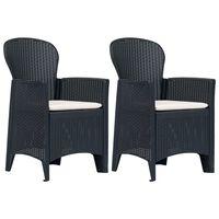 vidaXL Vrtni stoli z blazino iz plastike 2 kosa antracitni videz ratana
