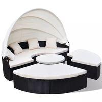 vidaXL Zunanja postelja iz poli ratana črna