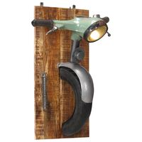 vidaXL Stenska svetilka v obliki skuterja železo in trden mangov les