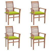 vidaXL Jedilni stoli 4 kosi s svetlo zelenimi blazinami trdna tikovina