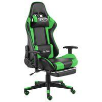 vidaXL Vrtljiv gaming stol z naslonjalom za noge zelen PVC
