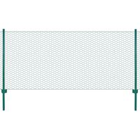 vidaXL Žična mrežna ograja s stebrički jeklo 25x1 m zelena