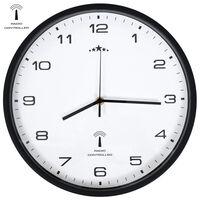 vidaXL Radijsko vodena stenska ura Quartz gibanje 31 cm bela in črna