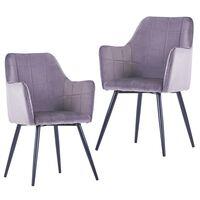 vidaXL Jedilni stoli 2 kosa siv žamet