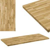 vidaXL Površina za mizo trden hrastov les pravokotna 44 mm 100x60 cm