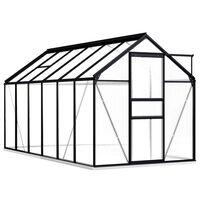 vidaXL Rastlinjak z okvirjem antraciten aluminij 7,03 m²