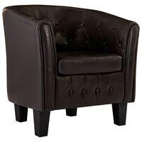 vidaXL Tubast stol iz rjavega umetnega usnja