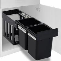 vidaXL Kuhinjski izvlečni koš za smeti s počasnim zapiranjem 20 L