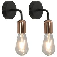 vidaXL Stenske svetilke 2 kosa z žarnicami 2 W črne in bakrene E27