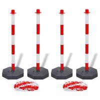 vidaXL Komplet 4 stebričkov za verigo in 2 plastični verigi po 10 m