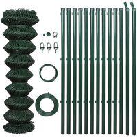 vidaXL Mrežna ograja s stebrički jeklo 1,5x25 m zelena