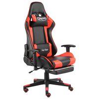 vidaXL Vrtljiv gaming stol z naslonjalom za noge rdeč PVC