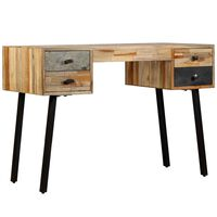 vidaXL Pisalna miza iz masivne predelane tikovine 110x50x76 cm