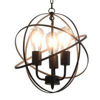 vidaXL Viseča svetilka črna krogla 3 x E27 žarnice