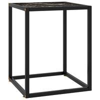 vidaXL Čajna mizica črna s črnim marmornim steklom 40x40x50 cm