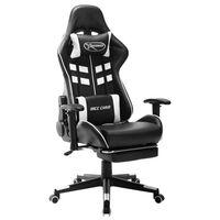 vidaXL Gaming stol z oporo za noge črno in belo umetno usnje