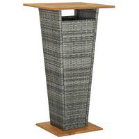 vidaXL Barska miza siva 60x60x110 cm poli ratan in trden akacijev les
