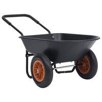 vidaXL Samokolnica črna in oranžna 78 L 100 kg