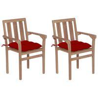 vidaXL Vrtni stoli 2 kosa z rdečimi blazinami trdna tikovina