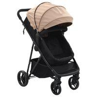 vidaXL Otroški voziček 2 v 1 taupe in črn jeklo