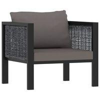 vidaXL Sekcijski kavč z blazinami poli ratan antraciten