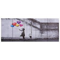 vidaXL Slika na platnu baloni in otrok večbarvna 200x80 cm