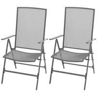 vidaXL Vrtni stoli 2 kosa jeklo sive barve
