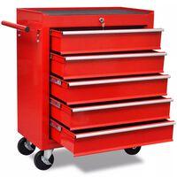 Rdeč delavniški voziček za shranjevanje orodja s 5 predali