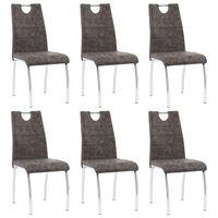 vidaXL Jedilni stoli 6 kosov rjavo umetno usnje
