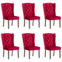 vidaXL Jedilni stoli 6 kosov vinsko rdeč žamet