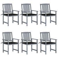 vidaXL Vrtni stoli z blazinami 6 kosov trden akacijev les sivi