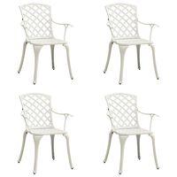 vidaXL Vrtni stoli 4 kosi liti aluminij beli