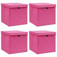 vidaXL Škatle za shranjevanje s pokrovi 4 kosi roza 32x32x32 cm blago