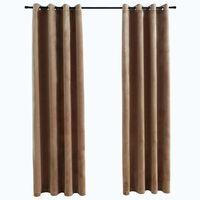 vidaXL Zatemnitvene zavese z obročki 2 kosa žamet bež 140x225 cm