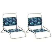 vidaXL Zložljivi stoli za na plažo 2 kosa blago s potiskom listja