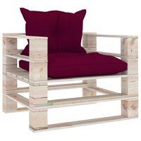 vidaXL Vrtni kavč iz palet z vinsko rdečimi blazinami borovina