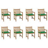 vidaXL Vrtni stoli 8 kosov z zelenimi blazinami trdna tikovina
