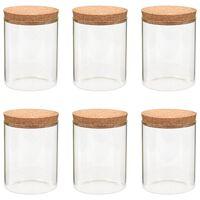 vidaXL Stekleni kozarci s pokrovi iz plute 6 kosov 650 ml