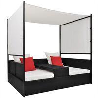 vidaXL Vrtna postelja s streho poli ratan 190x130 cm črna