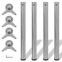 4 x Noge za Mizo iz Brušenega Niklja Nastavljiva Višina 710 mm