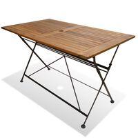 vidaXL Zložljiva vrtna miza 120x70x74 cm trden akacijev les